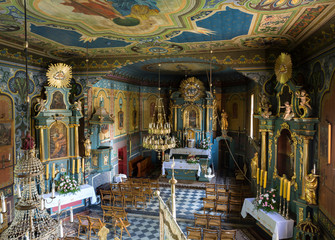 Interior of the wooden antique church in Podstolice near Cracow. Poland