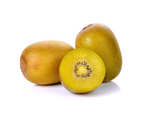 Yellow kiwi fruit isolated on white background