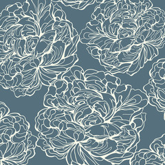 White peony silhouettet on a blue background