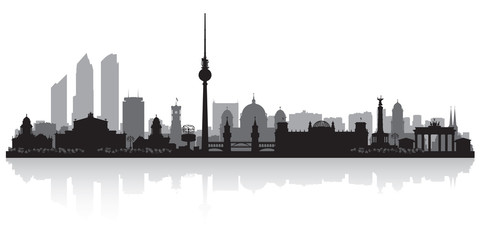 Fototapete - Berlin Germany city skyline silhouette