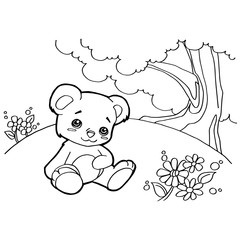 bear cartoon coloring pages vector