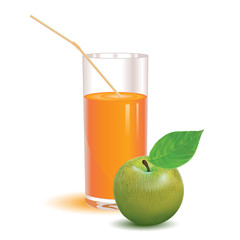 glass for juice from the ripe green apple on a white background