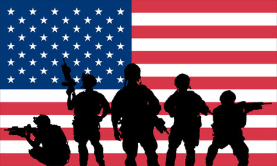rangers team with rifle on a US flag
