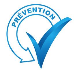 prévention sur symbole validé bleu
