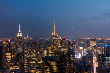 New York city, United States. Panoramic view of Manhattan skyline and buildings at night