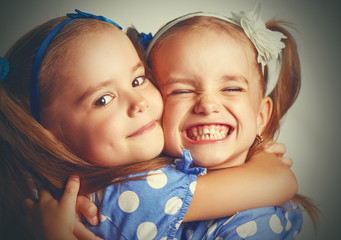 Happy funny twins sisters hugging and laughing