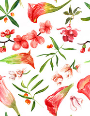 Bright watercolour flowers, leaves and berries seamless pattern