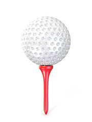 Golf ball on red tee. 3D render illustration, isolated on white background