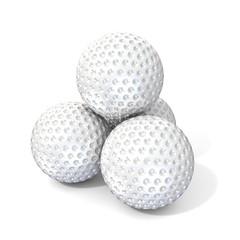 Golf balls. 3D render illustration, isolated on white background