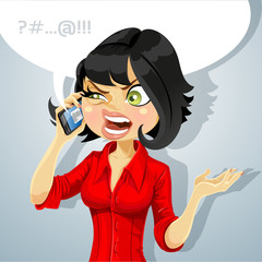 Cute brunette girl talking on the phone about something unpleasa