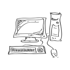Simple doodle of a computer