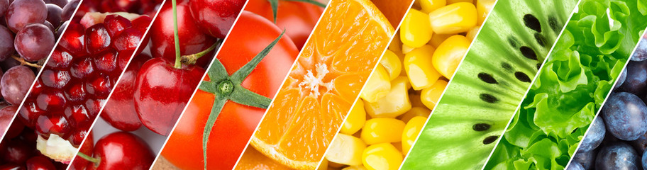 Poster de jardin Fruits Color fruits, berries and vegetables