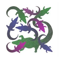 A colored crocodile family