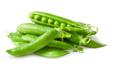 Pile closed pea pods and one open