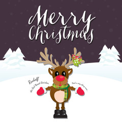 Merry Christmas Reindeer on a Purple Background