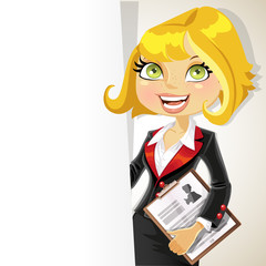 Blond business woman with white banner for your text