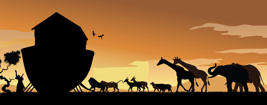 Animals Boarding Noah's Ark at Sunset with Noah Hands Raised in Praise