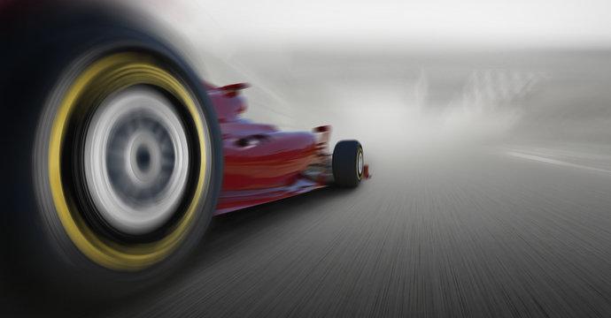 formula one car speeding
