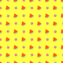 Pattern with watermelon and raspberries on a yellow background