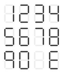 Set of isolated black digital numbers