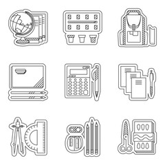 School set thin line icons