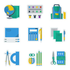 Colored vector icons for school items