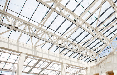 Fragment of roof from glass and a steel in style hi-tech