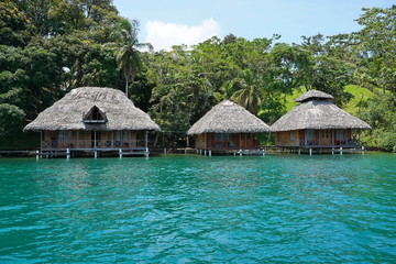 Tropical shore with thatched bungalows over water