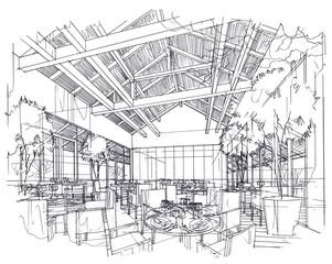 Interior lines , perspective interior , perspective rendering