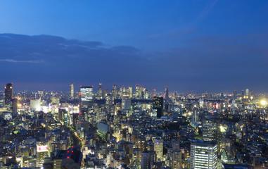 東京都市風景 渋谷と新宿高層ビル群 青山 を望む 夜景 俯瞰