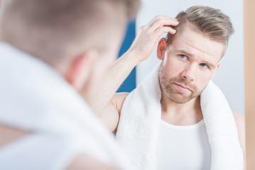 Man improving hair