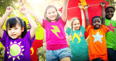 Children Flying Kite Playful Friendship Concept