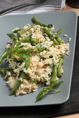 Risotto with green beans and basil