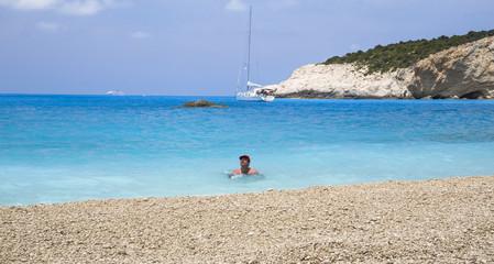 Porto Katsiki beach Greece, swimmng