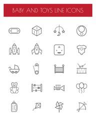 flat line toy icon set.
