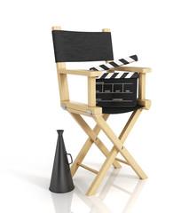 Illustration of director chair, and over filmmaker equipment, ov