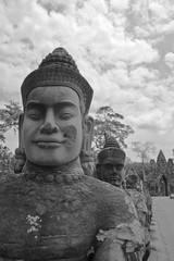 Black and White Mood On the Way to Bayon Temple, Siem Reap, Cambodia