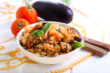 Rice with stewed vegetables