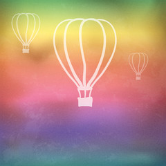 Rainbow background with fire balloons