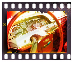 dashboard of a classic car in a grungy film slide