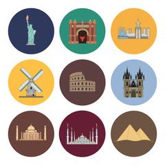 8 flat landmark icons
