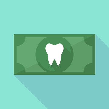 Long shadow banknote icon with a tooth