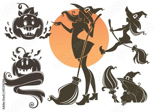 Happy Halloween symbols, withes, pumpkins and bats