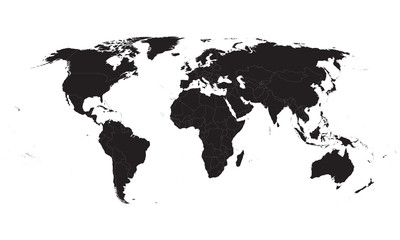 black vector world map with all country borders