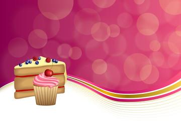 Abstract background pink yellow dessert cake blueberry raspberries cherry cupcake muffins cream frame illustration vector