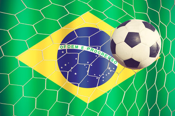 Soccer Ball with Brazilian Flag vintage color