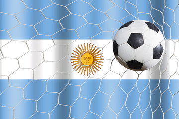 soccer ball and Argentina flag