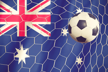 soccer ball and australian flag vintage color