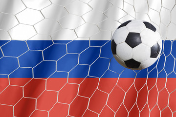 Russia flag with championship soccer ball
