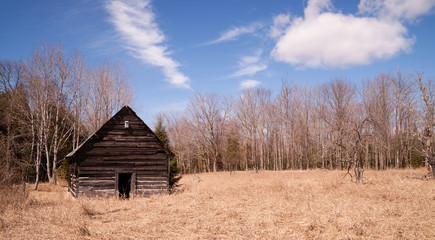 Abandoned Cabin Rural Countryside Northern Winter USA